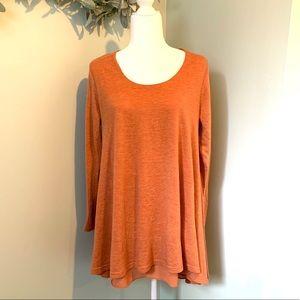 Umgee Layered Flare Dress Tunic Heathered Orange